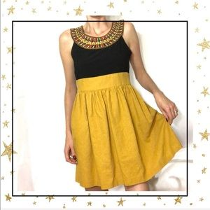 Tiana B.Mustard/Black Embroidered Mini dress (D5)